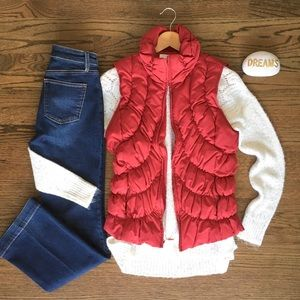 Nine West red ruched puffer Vest